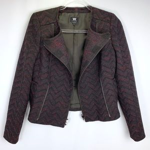 W by Worth tweed double breasted zip front blazer